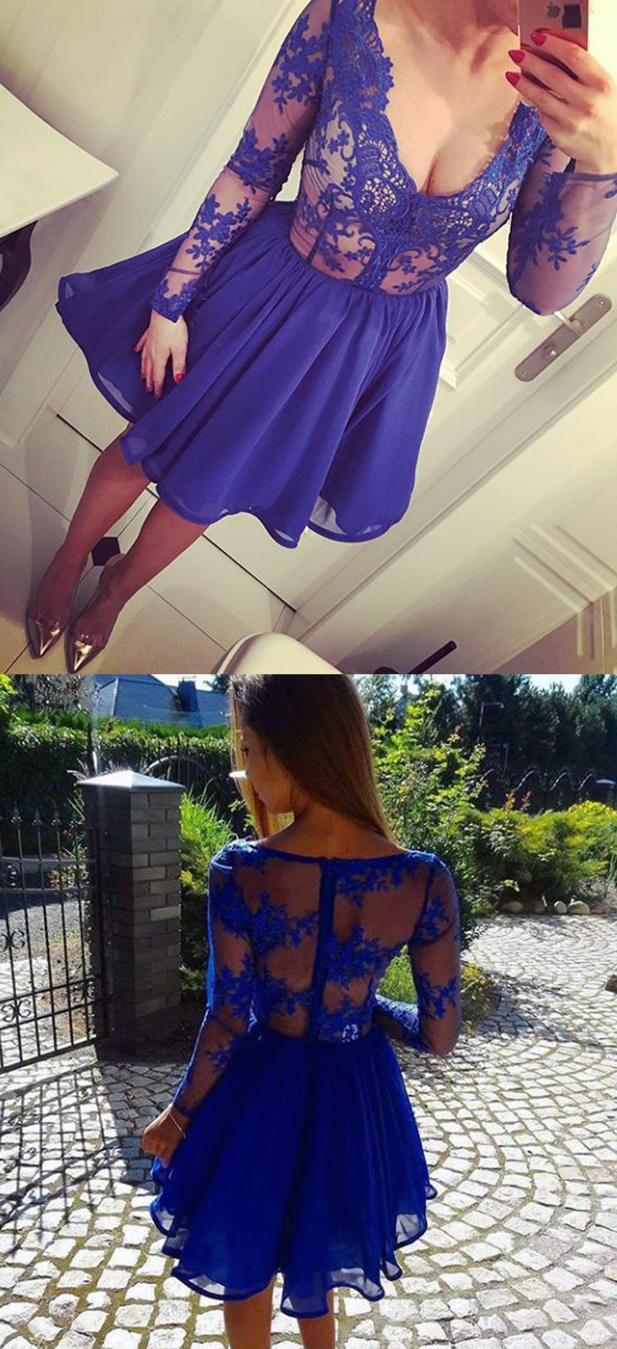 A-Line V-Neck Long Sleeves Appliques Royal Blue Short Homecoming ...