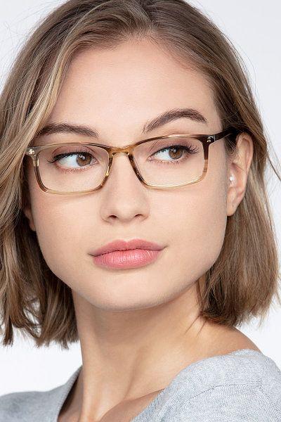 Photo of Crane – Rectangle Brown Striped Frame Eyeglasses | EyeBuyDirect