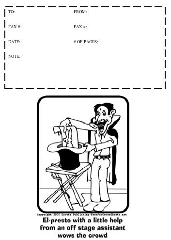This printable fax cover sheet would be great for a magician - blank fax cover sheet