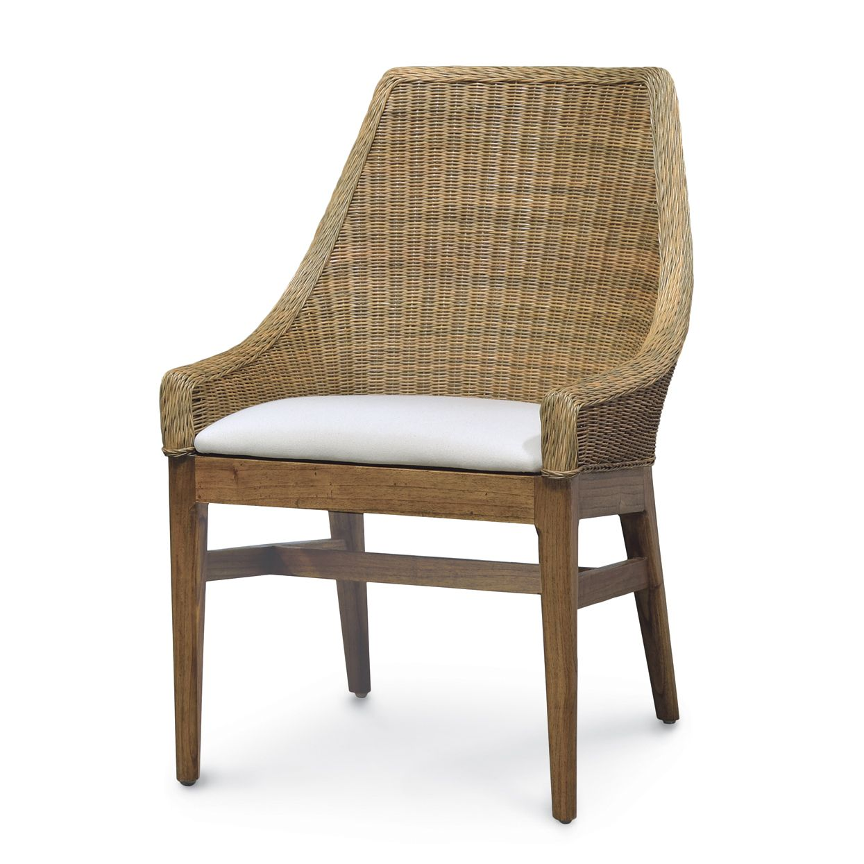 Seagrass Dining Chairs Wicker Round Chair With Seat Cushion Pair Natural