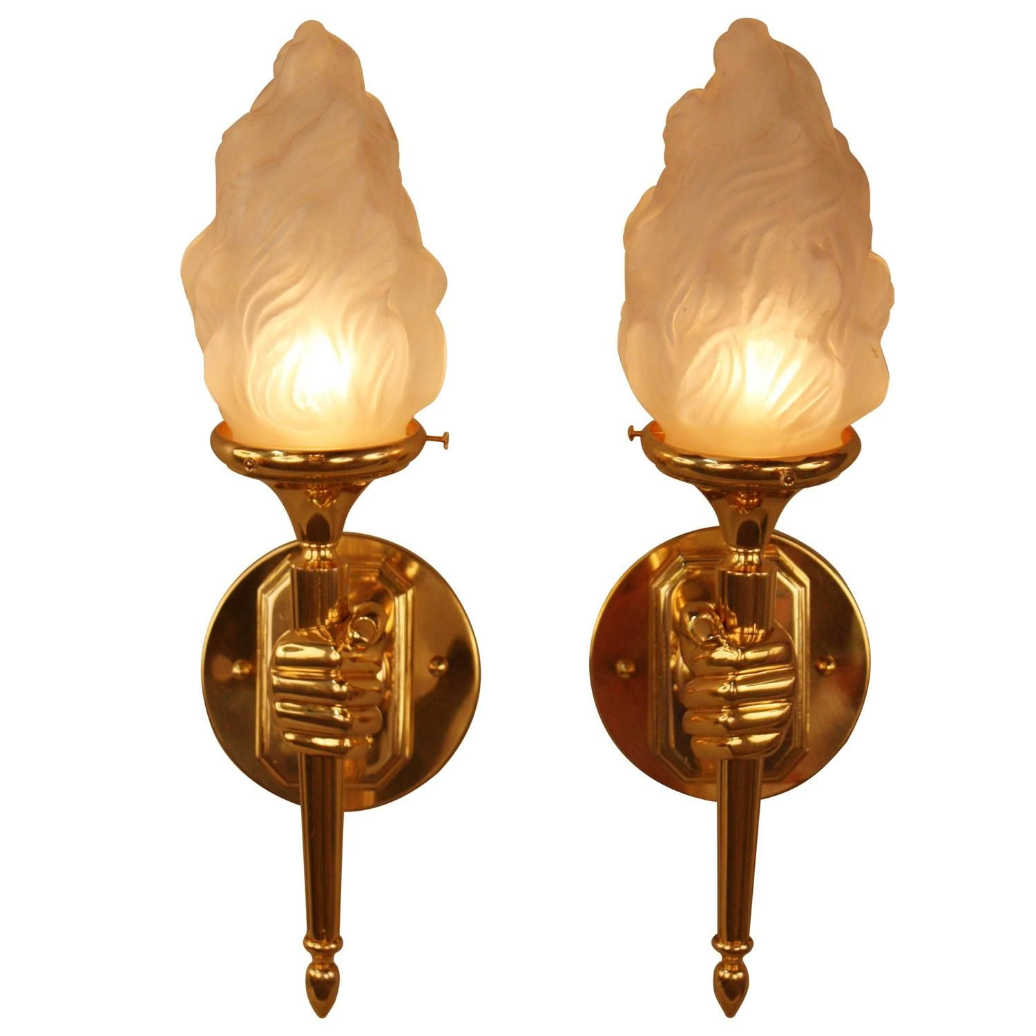 French Bronze Hand Hold Torch Wall Sconces 1stdibs Com Sconces