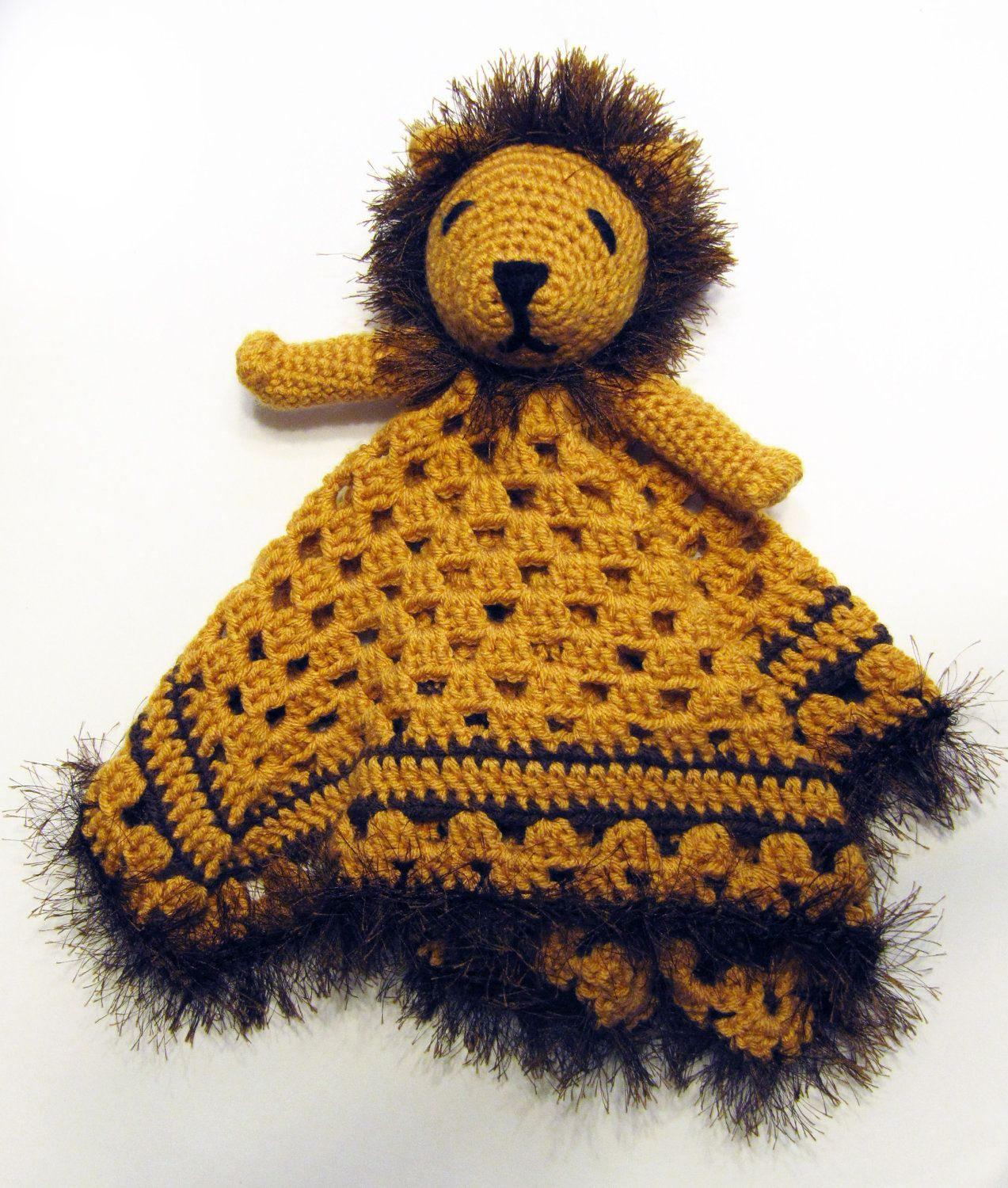 Lion Lovey - CROCHET PATTERN - blankey, blankie, security blanket ...