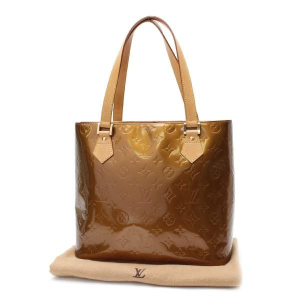 Luxury Fasion Resale Store Rastro Louis Vuitton Houston Monogram Vernis Handle Bags Brown Patent Leather M91122