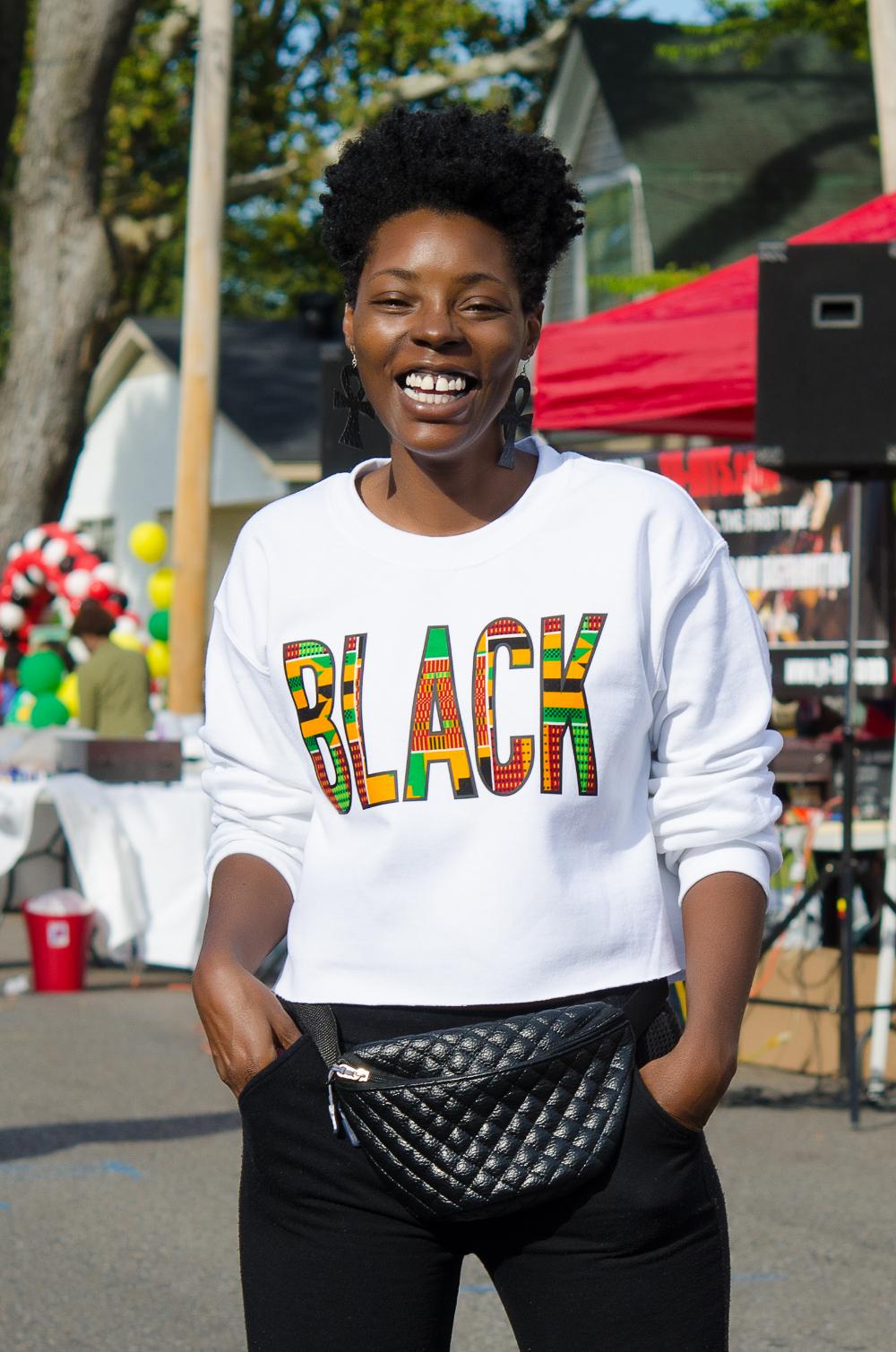 BLACK kente print sweatshirt