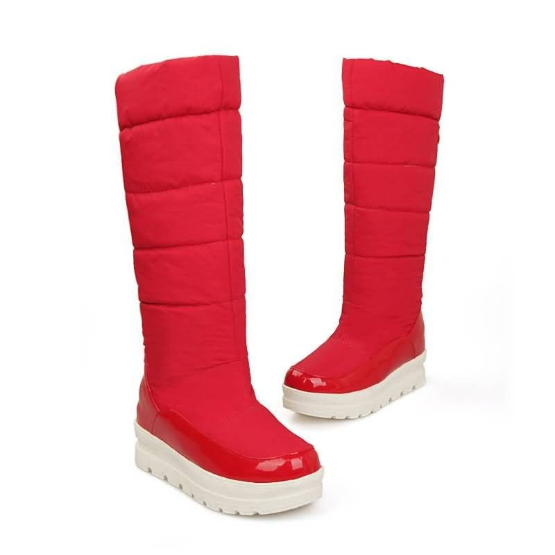 Womens Boot Slippers / Red White Warm Lined Sizes 3 4 5 6 7 8
