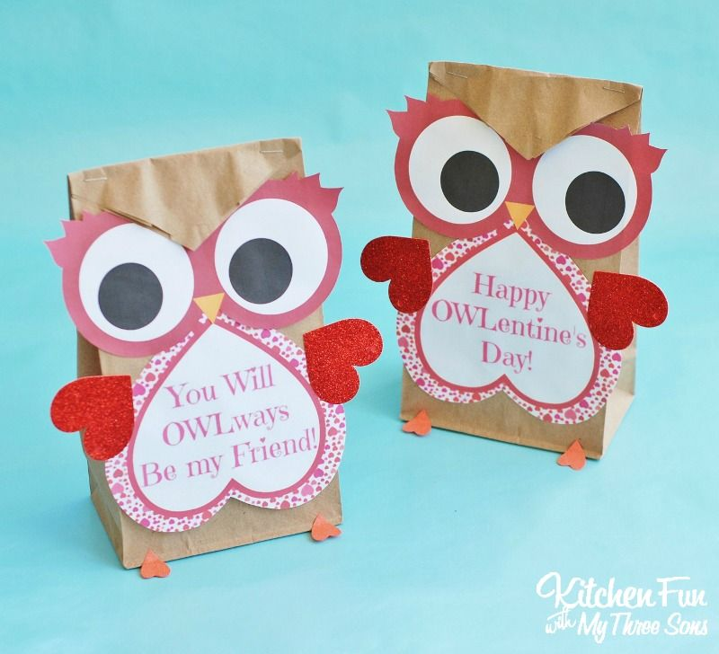 Valentine Owl Craft Paper Treat Bags With A Free Printable