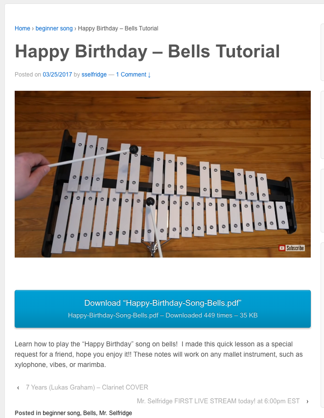 Great tutorial on how to play Happy Birthday on bells! Key