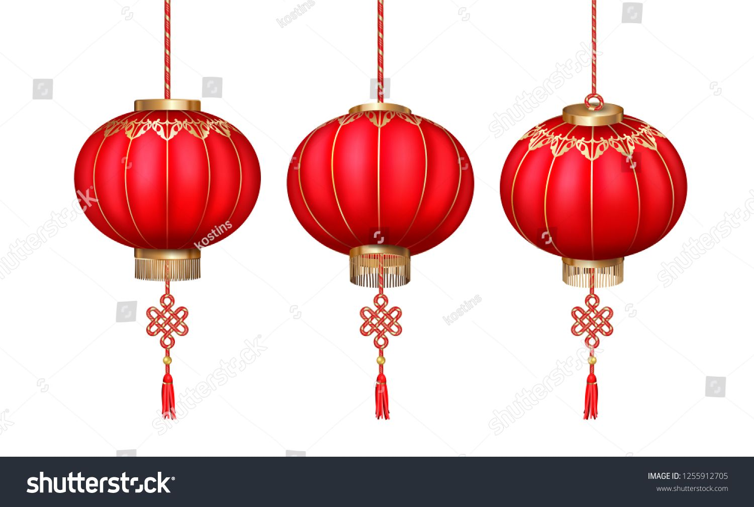 Vector Set Of Hanging Chinese Paper Lanterns For Happy New Year On