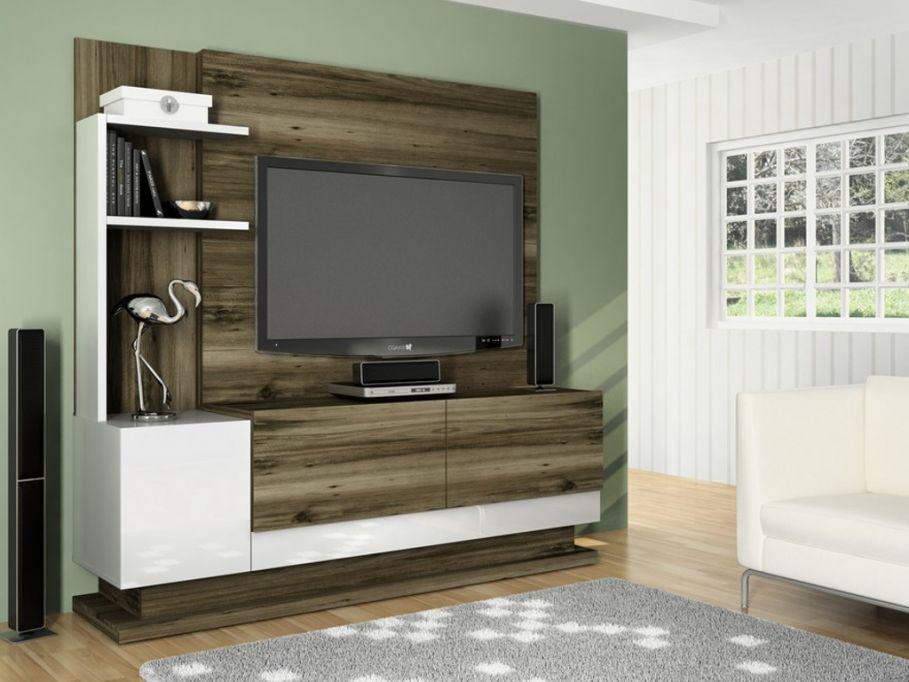 soldes Mur TV KANSAS avec rangements - MDF - Laqué blanc et nature