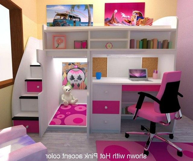 Loft Bed With Stairs And Desk in 2020 | Bed for girls room ...