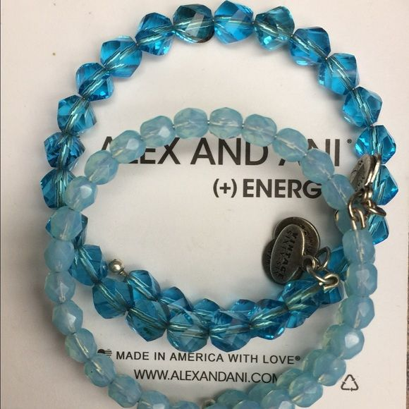 "Set of 2 Alex & Ani Blue Beaded Wrap Bracelets GORGEOUS! Set of 2 Alex & Ani Blue Beaded Wrap Bracelets in Russian Silver- YOU DO NOT HAVE TO CHOOSE! You will receive both. Keep one and give one as a gift! Keep both, of knock off two special girls off your Christmas list affordable! #1- Darker Clear Blue- ""Mirage"" #2- Lighter Cloudy Blue- ""Bohemian"" BOTH RETAIL FOR $60.00 plus. GREAT GIFT IDEA! Make me an offer...no low balls; no PayPal; no trades. POSH COMPLIANT SELLER!!!- Brand New WITHOUT…"