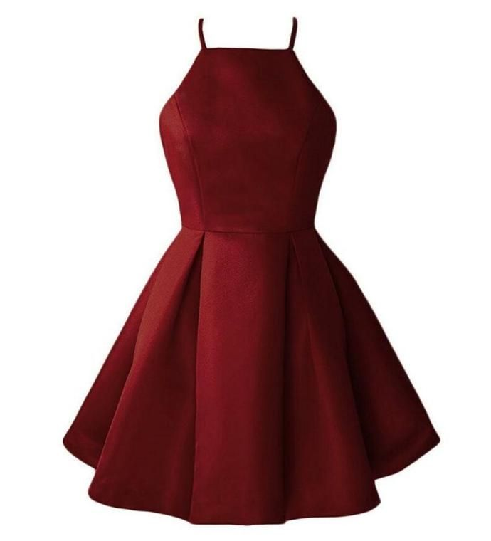 Dark Red Satin Halter Homecoming Dress, New Homecoming Dress 2019 #backlesscocktaildress