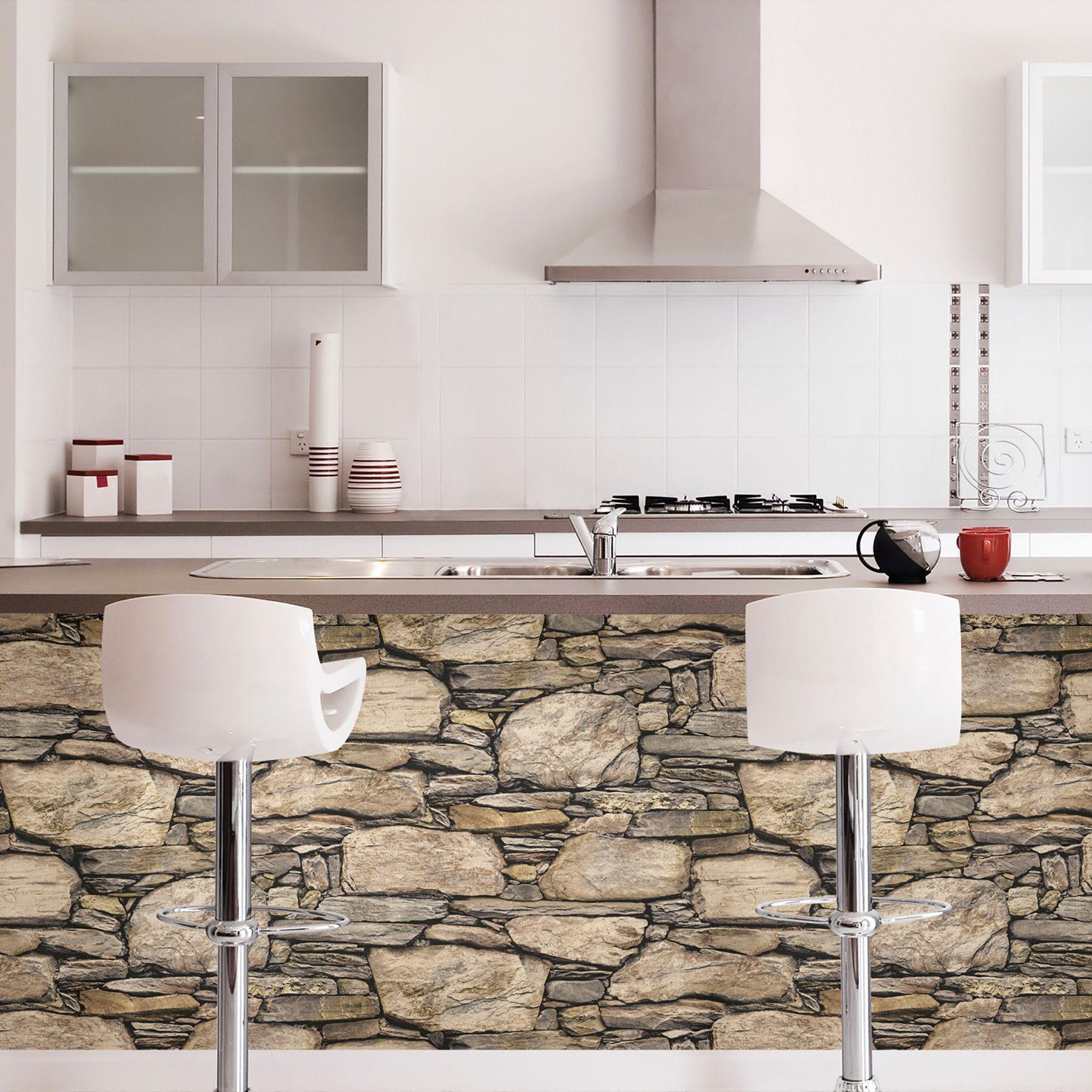 WallPops Hadrian 3D Ledger Stone Wall Peel and Stick Wallpaper