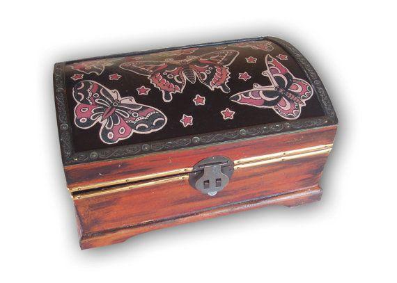 Vintage upcycled wooden tattoo style Butterfly by SacredArtDesignz
