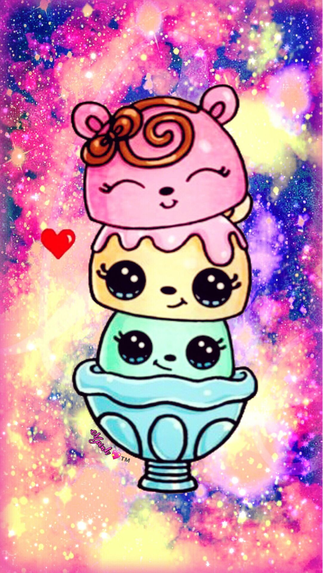 Cute Kawaii Icecream Galaxy Wallpaper #androidwallpaper