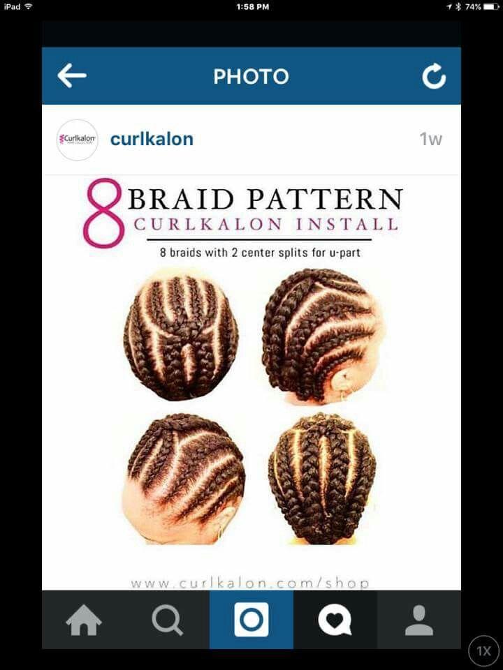 Braid pattern for crochet hair | beautiful hair | Pinterest
