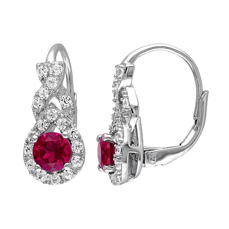 d3435aab3 Lab-Created Ruby & Lab-Created White Sapphire Sterling Silver Twist Drop  Earrings, Women's, Red