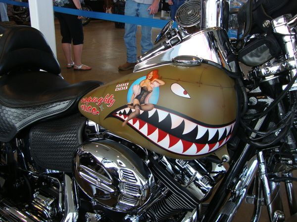 """O's Custom Paints / Custom Painting - Harleys, Choppers, Motorcycles / Naughty & Nice-Tribute to the """"Flying Tigers"""""""