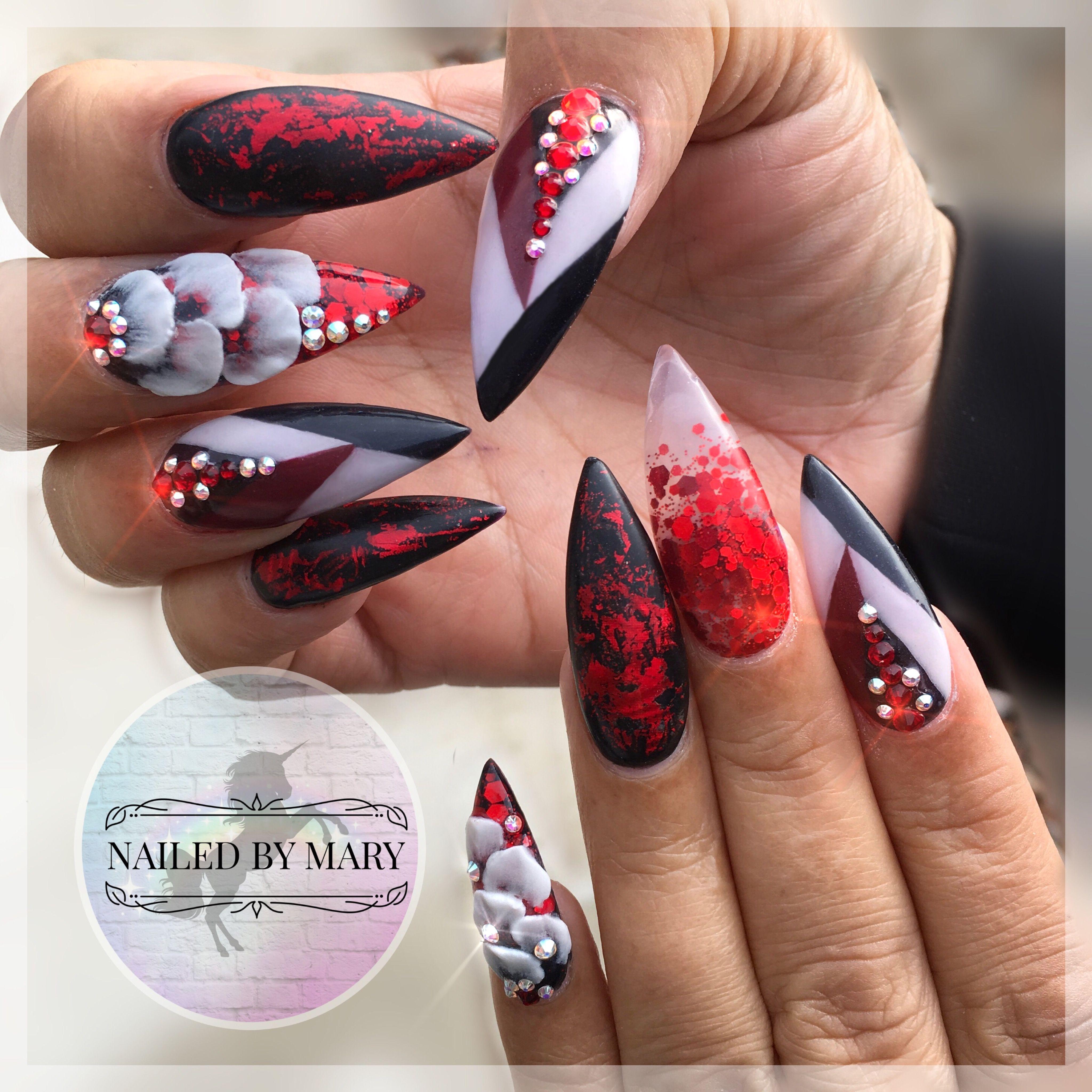 Red Black White 3d Art Designs Stiletto Pointy Long Glitter Heaven