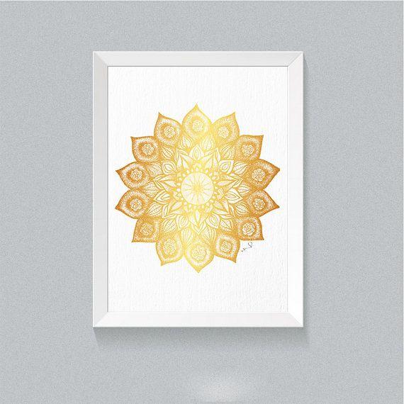 Mandala Wall Art Mandala Wall Decor Golden Mandala Print ...