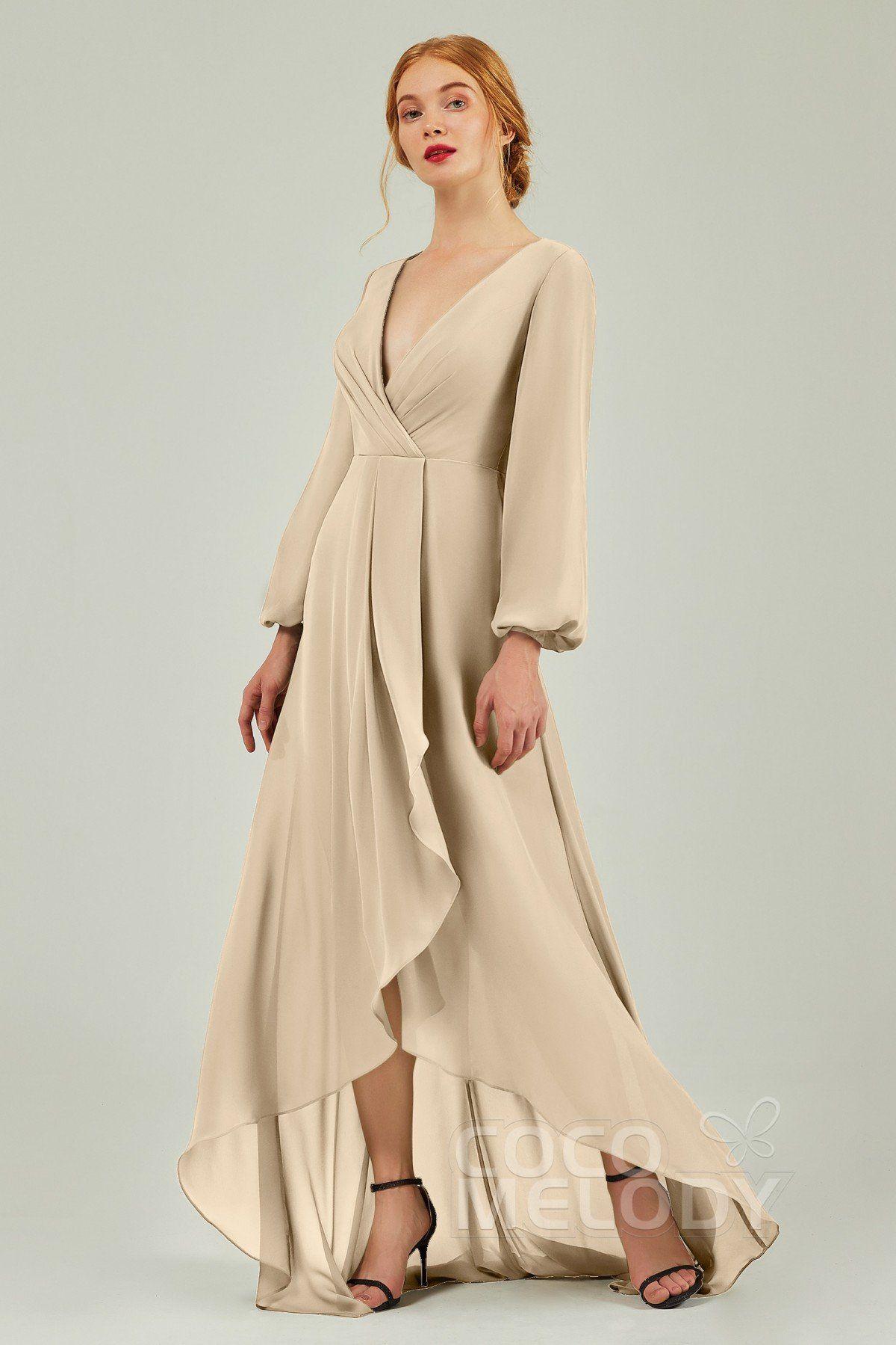 Usd 139 99 Asymmetrical Sweep Brush Long Sleeve Bridesmaid Dress Cb0239 Bridesmaid Dresses Brown Bridesmaid Dresses Long Sleeve Bridesmaid Dress [ 1799 x 1200 Pixel ]