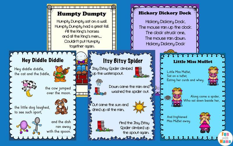 Nursery Rhymes Printables Posters Nursery rhymes