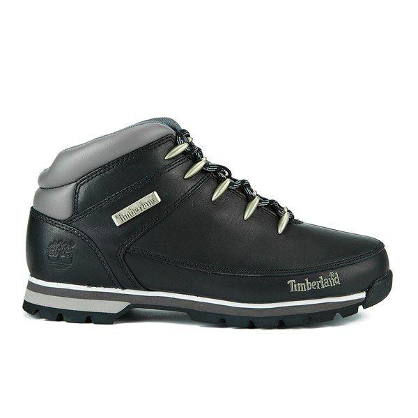 Timberland Men's Euro Sprint Hiker Boots Black Smooth