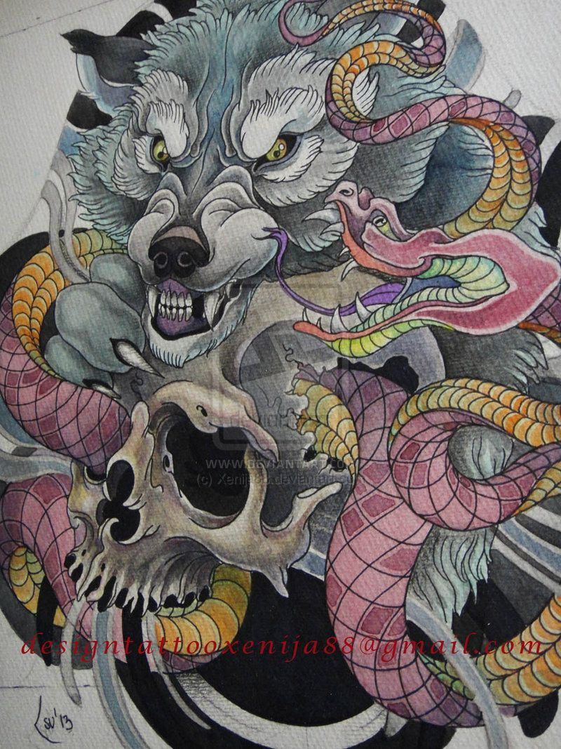 d60f8aeb2 Japanese Wolf, Skull, & Viper tattoo design | stuff | Wolf tattoos ...