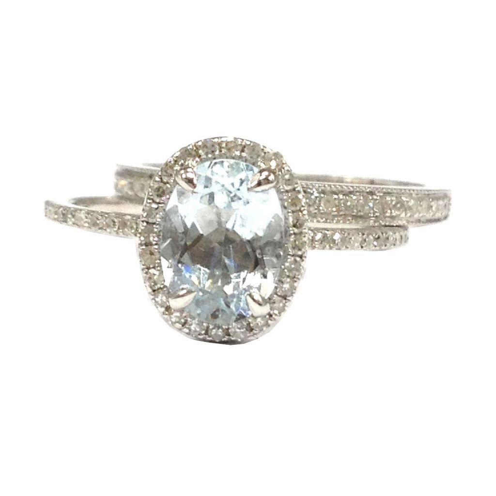 Oval aquamarine engagement ring sets pave diamond wedding k white