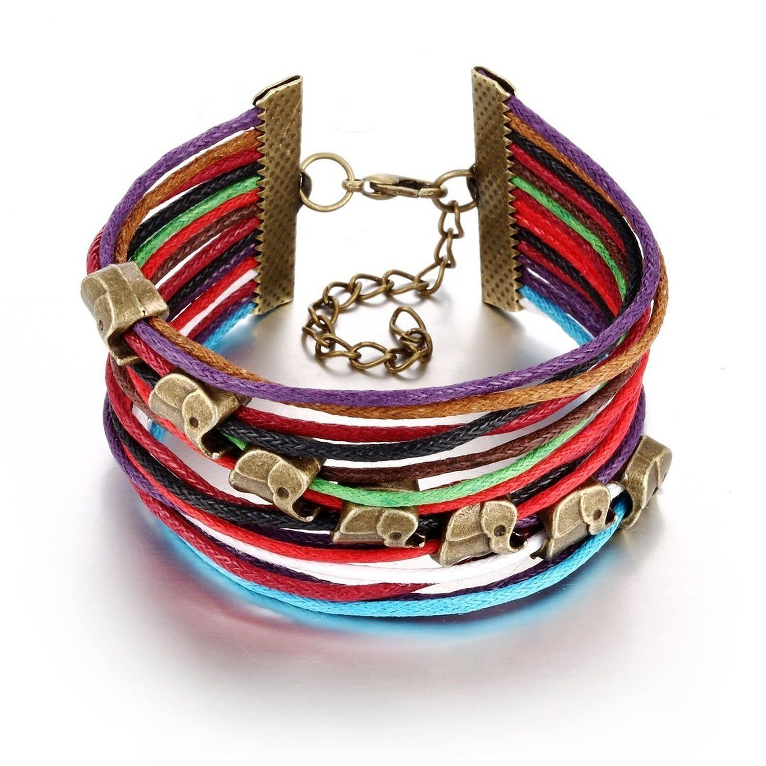 Blowin elephant beads metal leather colorful weave bracelet strands