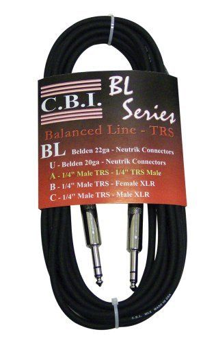 Cbi Bl2a Cable 10 Foot 1 4 Inch Trs To 1 4 Inch Trs For Balanced Or Stereo Instrument Connections By Cbi Cables Electronic Cables Sound Installation Cables