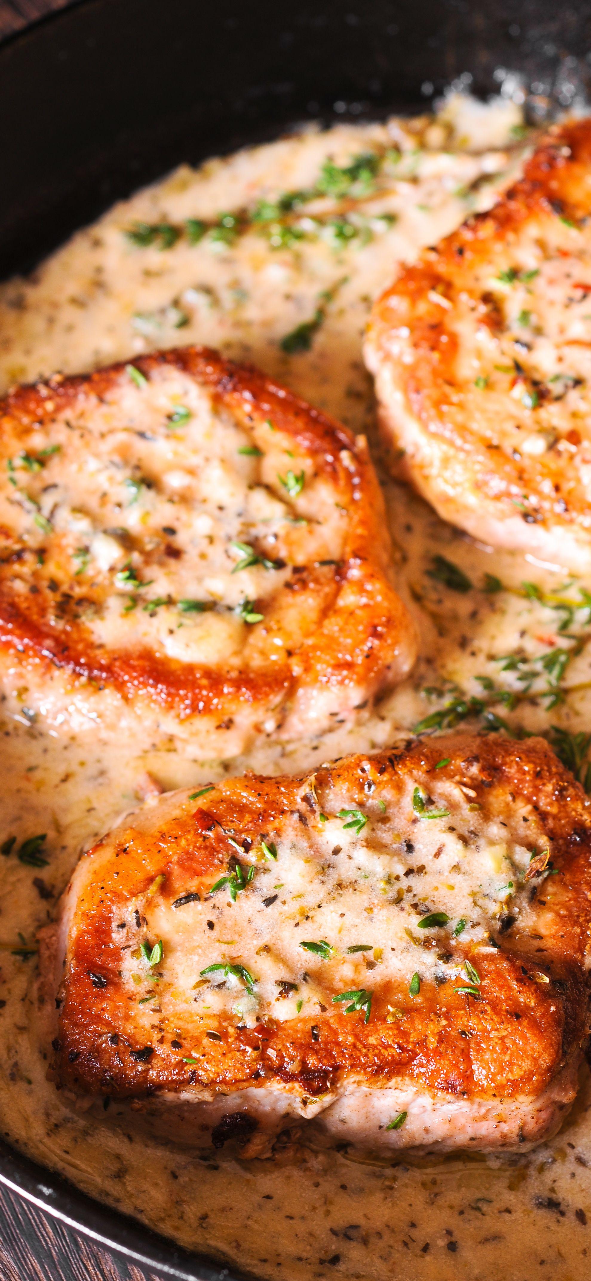 pork chops in creamy garlic and wine sauce #pork #dinner. try ff