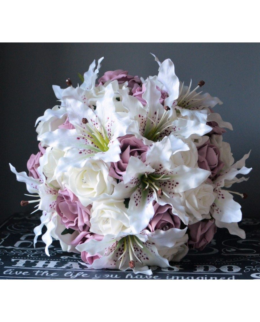 Brides bouquet tiger lily and rose bridal bouquet of