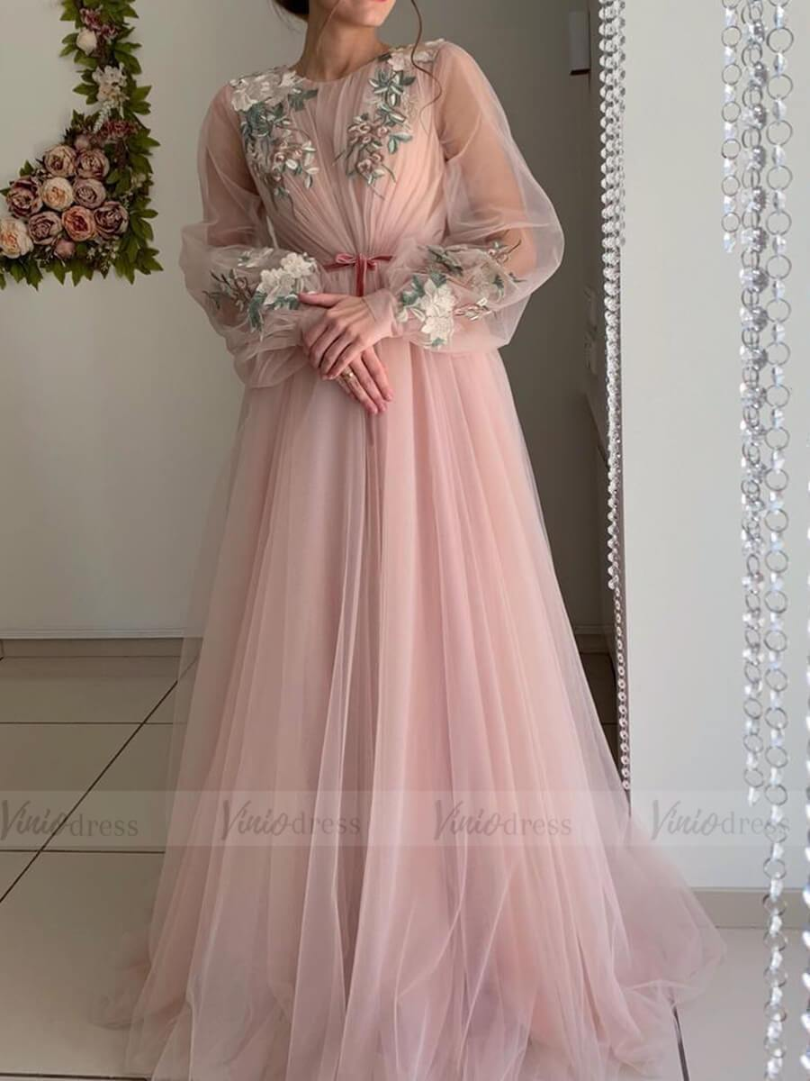 Long Sleeve Dusty Rose Prom Dresses Embroidered Engagement Party Dress Fd1654 Prom Dresses Long With Sleeves Rose Prom Dress Engagement Party Dresses [ 1200 x 900 Pixel ]