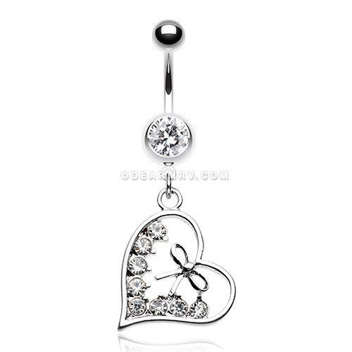 Bow-Tie Heart Sparkle Belly Button Ring (Clear)