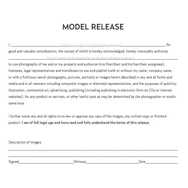 Model Release Form Template  CityEsporaCo