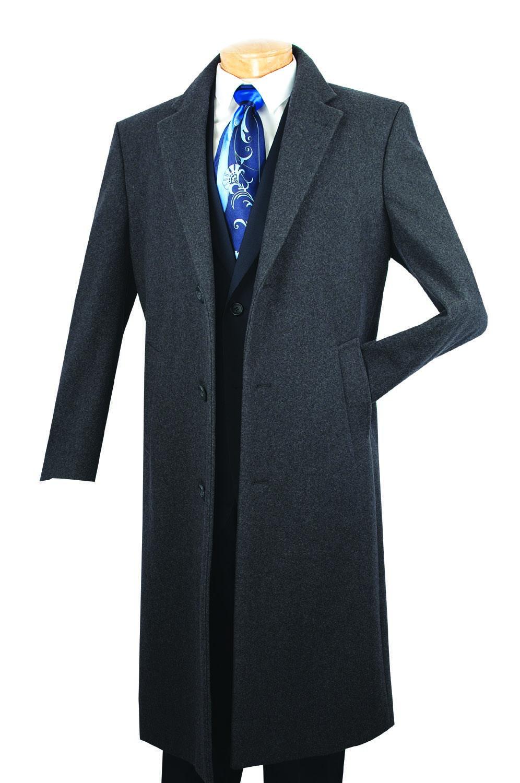 5ae16a4df Vinci Mens Full Length Charcoal Cashmere Blend Overcoat CL48-1 ...