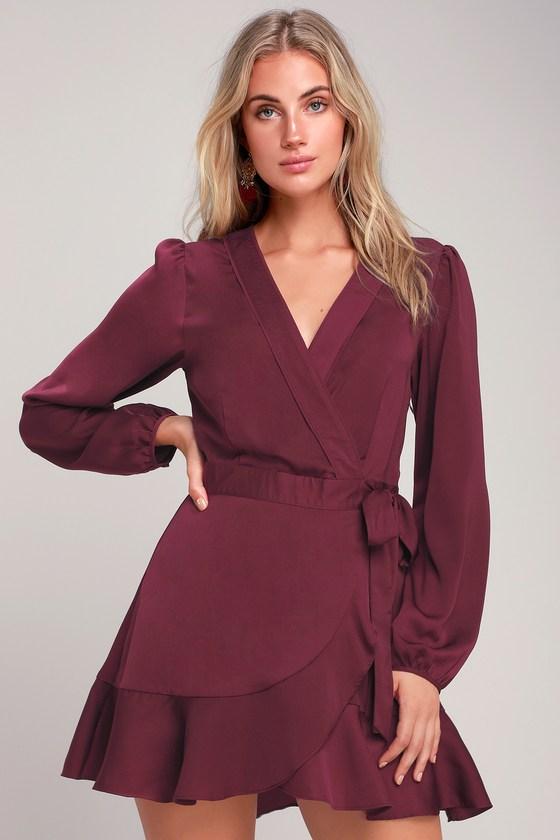 Lilya Plum Purple Long Sleeve Satin Wrap Dress Womens Wrap Dress Dresses Knit Swing Dress