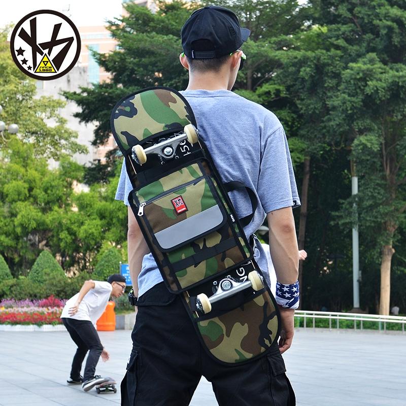 62.91$  Buy now - http://alij3v.shopchina.info/go.php?t=32807724044 - MACKAR 30x23x4cm Skateboard Bags 1000D Cordura Nylon Camouflage Skate Backpacks 900D Polyeter Oxford Black Double Rocker Bag 62.91$ #aliexpressideas