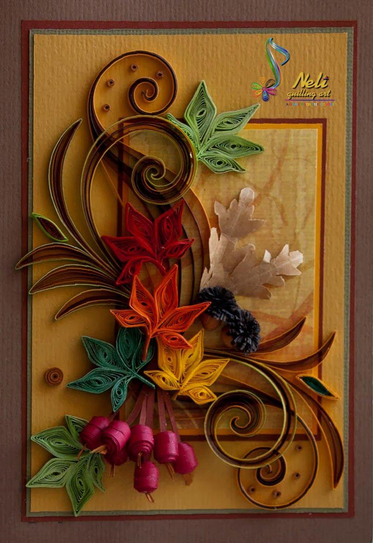 Осенние открытки квиллинг