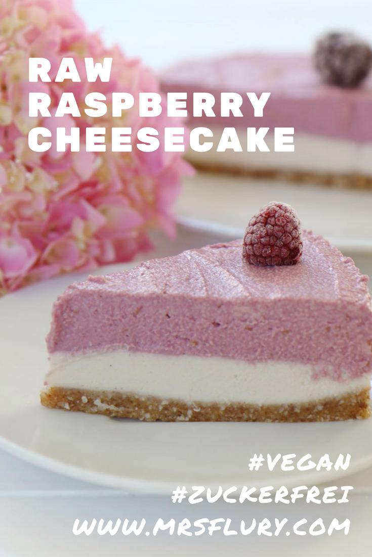 Raw Raspberry Cheesecake vegan & zuckerfrei #gesund #zuckerfrei #kuchen #gesunderkuchen #vegan #backen #nobake #sommer #cheesecake #himbeer #gesunderezepte #mrsflury