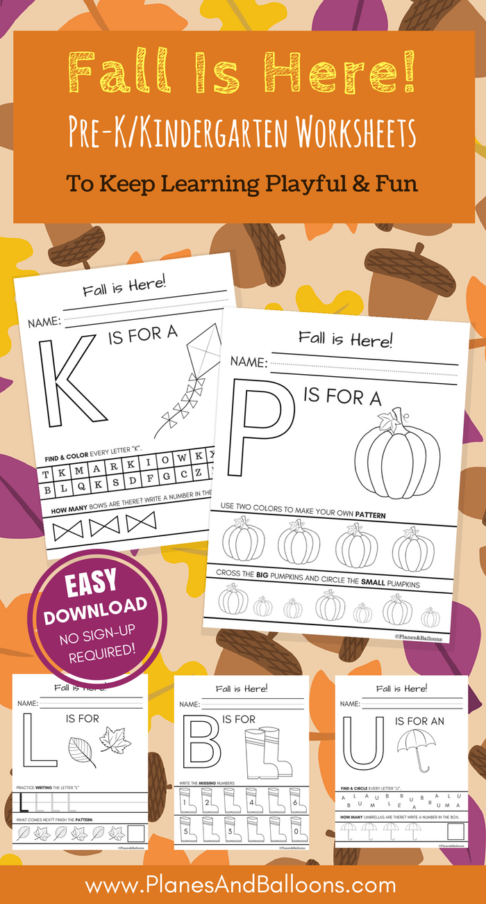 fall worksheets kindergarten printable for free no sign up