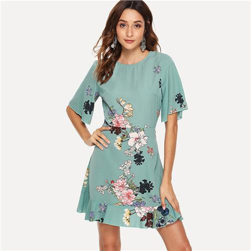 62e68728fd SHEIN Green Vacation Tribal Bohemian Beach Bell Floral Print Flounce Sleeve  Ruffle Hem Botanical Dress Summer Women Casual Dress #trendy #fashion #cute
