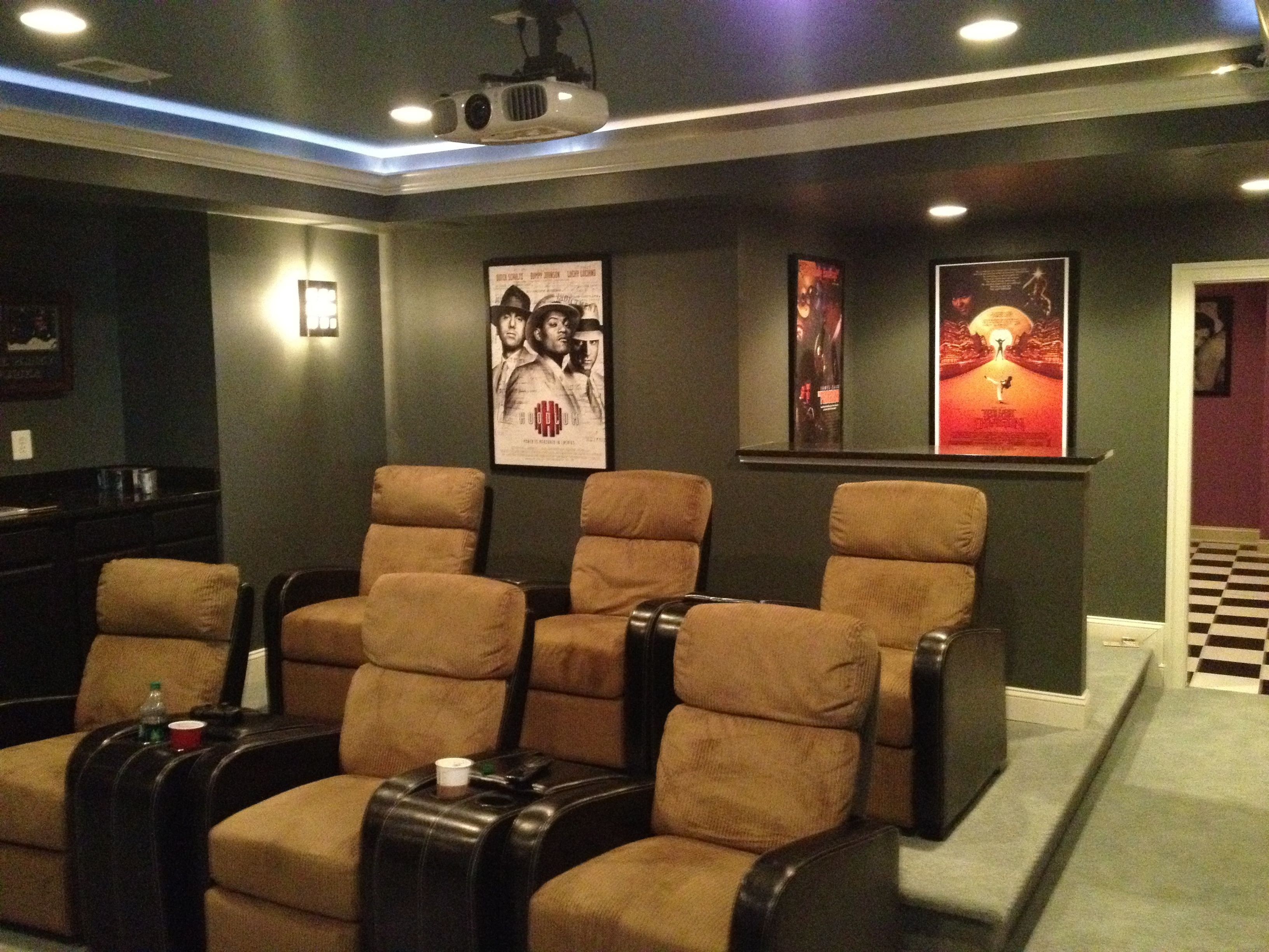 basement movie theater with comfy seats