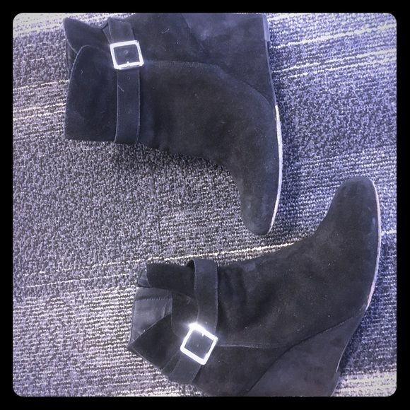 Vince Camuto suede wedge boots Size 7 black suede- work maybe 3 times! Vince Camuto Shoes Ankle Boots & Booties