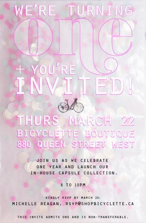 Bicyclette boutique one year anniversary party invite embellish bicyclette boutique one year anniversary party invite stopboris Image collections