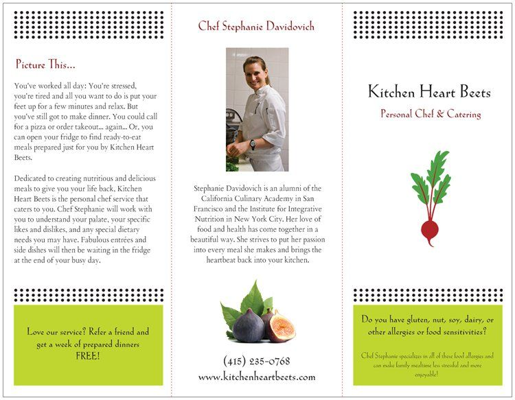 My New Personal Chef Brochure Personal chef, Private