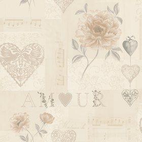 Tapetti Amour 97817 0,53x10,05 m beige/ruskea/hopea non-woven