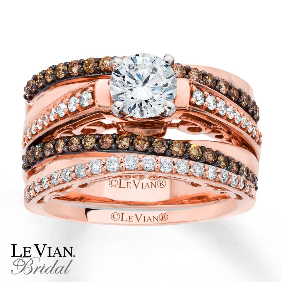 Levian Chocolate Diamonds 1 1 3 Ct Tw Bridal Set 14k Gold Chocolate Diamond Wedding Rings Diamond Wedding Rings Sets Kay Jewelers Bridal Sets