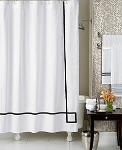 Grograin Trim On Classic White Shower Curtain Interior Design Boards Plain Curtains White Shower Curtain